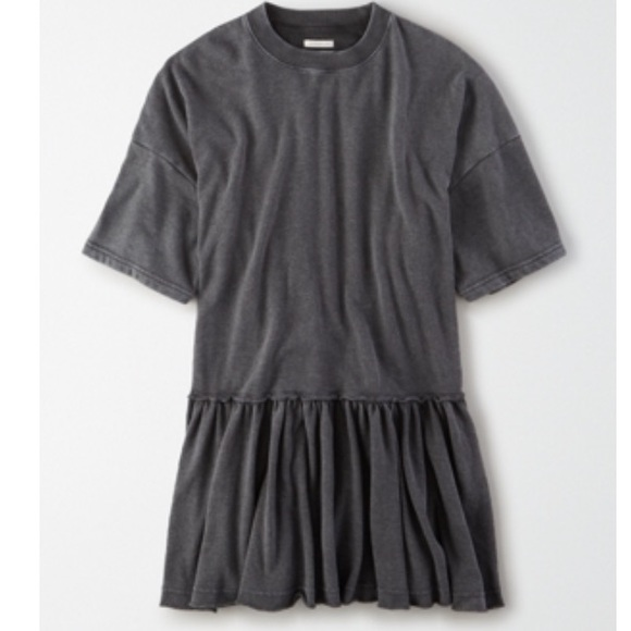 Oversized fleece babydoll dress in heather grey
